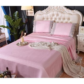 Light Pink Lace Polyester Sheet Style 3-Piece Summer Sleeping Mat Sets