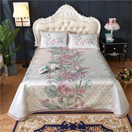 Jacquard Pattern Printing Flower Blooming Grey 3-Piece Polyester Summer Sleeping Mat Sets