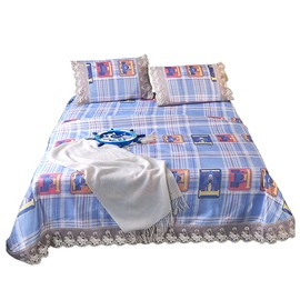 Stripes&Check Printing Lace 3-Piece Polyester 3-Piece Summer Sleeping Mat Sets