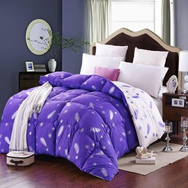 Feather Stars Print Noble Purple Down Quilt