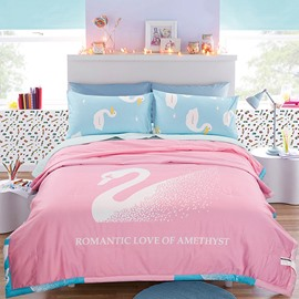 Super Graceful White Swan Pink Cotton Summer Quilts