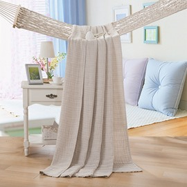 Reversible Lightweight Solid Camel Color Cotton Quilt