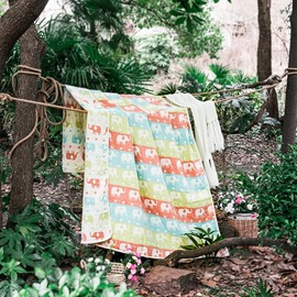 Reversible Lovely Elephant Reactive Printing Cotton Quilt