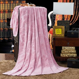 Luxury Toile Pattern Pink Cotton Jacquard Towel Quilt