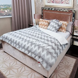 Fancy Light Gray Comfortable Plush Chevron Quilt
