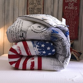 European Style Stars and Stripes Design Polyester Quilt