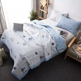 Nautical Themed Design White Cotton Air Conditioner Quilt