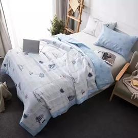 Nautical Themed Design White Cotton Air Conditioner Quilt