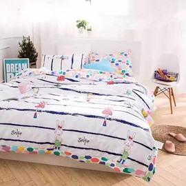 Beautiful Cartoon Rabbit Print Cotton Air Conditioner Quilt