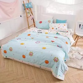 Special Design Cartoon Print Blue Lightweight Cotton Quilt