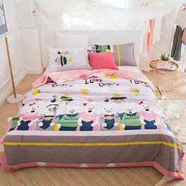 Lovely Cartoon Dogs Print Lightweight Cotton Quilt