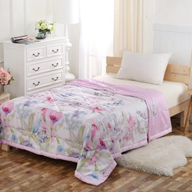 Pastoral Style Vibrant Floral Pink Tencel Lightweight Quilt