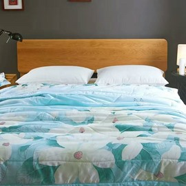 White Magnolia Print Blue Tencel Reversible Quilt