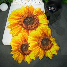 3D Sunflower Design Pastoral Style Soft Polyester Quilt