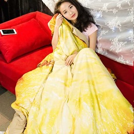 3D Yellow Pineapple Design Skincare Polyester Quilt