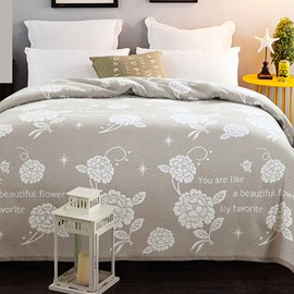 87'*94' Flowers Pattern Grey Cotton Lightweight Summer Quilts