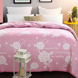 87'*94' Flowers Pattern Pink Cotton Lightweight Summer Quilts