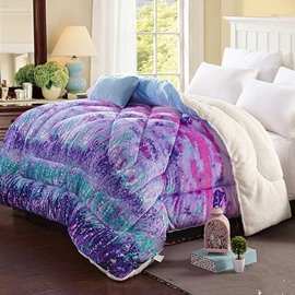 Colorful Lavender Flannel and Berber Fleece Winter Quilts