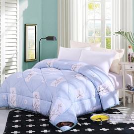 Plum Blossom Pattern Pastoral Style Lacy Blue Polyester Winter Thick Quilt
