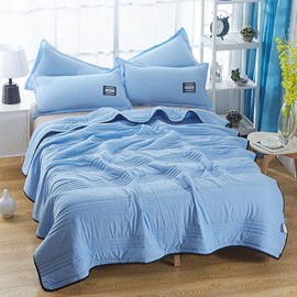 Solid Blue Simple Style Lightweight Polyester Summer Quilt