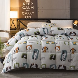 Super Cute Cartoon Pet Dogs Pattern Warm Winter Thick Quilt