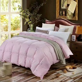 Feathers Printed Solid Pink Thick Winter Cotton Quilts/Comforters