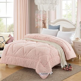Leaves and Flowers Printed Pink Super Soft Thick Winter Quilts/Comforters
