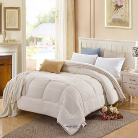 Solid Beige and Grid Design Super Soft Thick Winter Quilts/Comforters