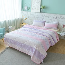 Pink And Purple Stripe Pattern Cotton Summer Quilt
