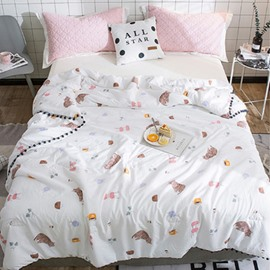 Cartoon Cat Reactive Printing Simple Style Cotton Quilt