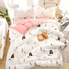 Cartoon Bear and Tree Printed Quilting Polyester White Winter Quilt