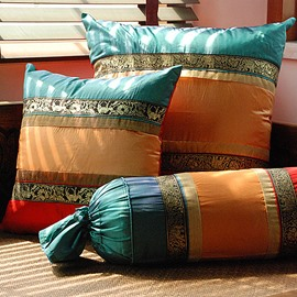 Tibetan Style-Imitation 3-Piece Silk Decorative Throw Pillows