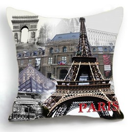 Modern Paris Eiffel Tower and City Print Linen Throw Pillow