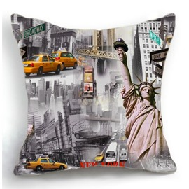 American New York Statue of Liberty and Cars Print Throw Pillow