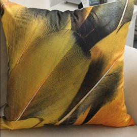 New Arrival Modern Style Yellow Feather Print Throw Pillow