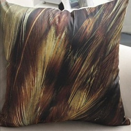 Modern Style Brown Feathers Print Throw Pillow