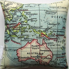 Antique Style Australia Queensland Map Print Throw Pillow