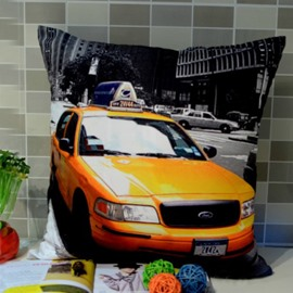 The Yellow Running Car Print Throw Pillow