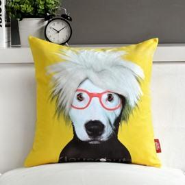 Amazing Cute Dog Wearing Glass Print Throw Pillow