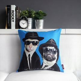 Lovely Cartoon Brothers Print Throw Pillow