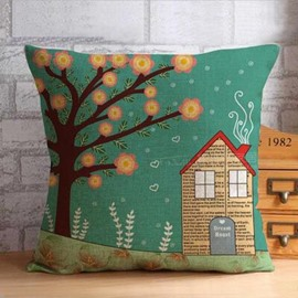 Delicate Tree and Flowers Beside House Throw Pillow