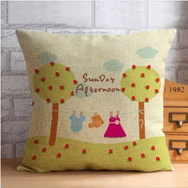 Two Yellow Trees and Cloud Throw Pillow