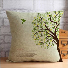 Flying Bird and Green Tree Thow Pillow