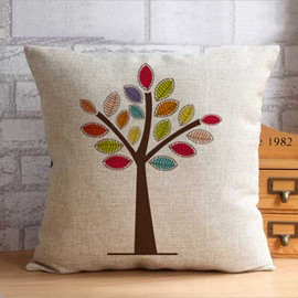 High Quality Colorful Trees Print Throw Pillow