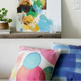 Wonderful Abstract Style Watercolor Linen Throw Pillow