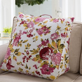 Super Soft Red and Pink Flowers Pattern 3D Throw Pillow