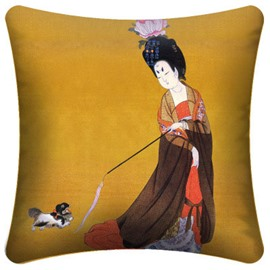 Classic Palace Woman Playing with a Dog Pattern Throw Pillow