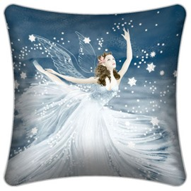 Fancy White Flying Fairy and Snowflakes Pattern Throw Pillow