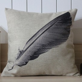 High Quality Feather Pattern Cotton Throw Pillow