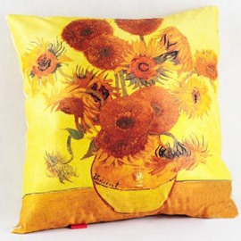 Famous Beautiful Sunflower Painting Pattern Throw Pillow